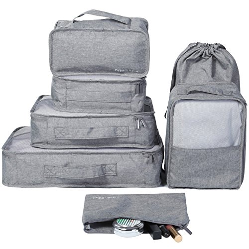 HOKEMP 7 Pcs Packing Cubes Luggage Organizer Set for Travel Lightweight Compression Storage Bags with Laundry Bag