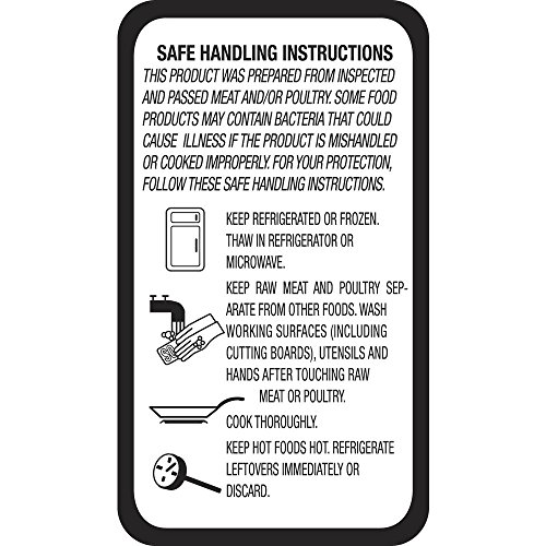 Meat Poultry Safe Handling Label White - 1'' L x 1 3/4 H 1000 Per Roll by Hubert