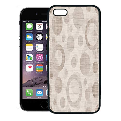 Semtomn Phone Case for iPhone 8 Plus case Cover,Tan Pattern Natural Drawing Circles Neutral Taupe Burlap Plaid Woven,Rubber Border Protective Case,Black