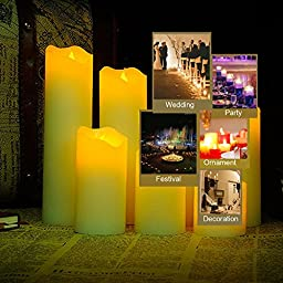 EASYOWN Electric Candles -3 set Flameless Battery Operated Real Wax Pillars with 18-Key Remote Control and Timer,12 Colors Settings