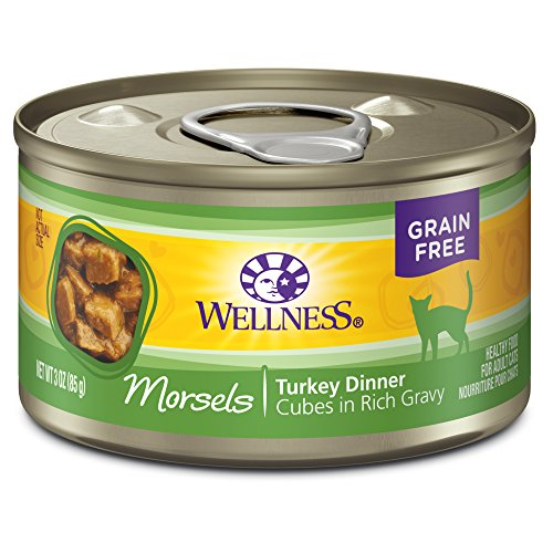 Wellness Complete Health Natural Grain Free Wet Canned Cat Food, Morsels Turkey Dinner, 3-Ounce Can (Pack Of 24)