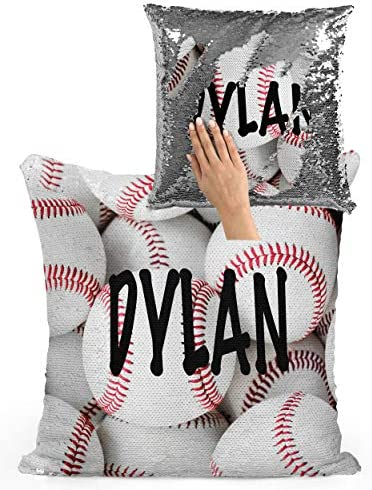 Violet Victoria Fan Star Personalized Baseball Sequin Mermaid Flip Pillow – ADD Your Name and Number Silver Sequins