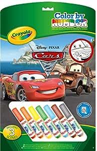 Crayola 555210 Cars 2 - Cuaderno para colorear con números (7 rotuladores)