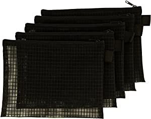 Mesh Bag With Zipper, Set Of 5, Organize Supplies, Cosmetics, Travel Accessories