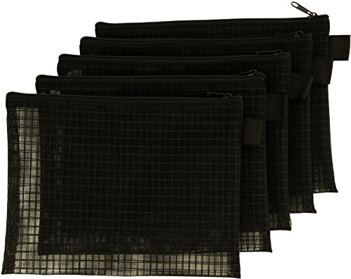 Mesh Bag With Zipper, Set Of 5, Organize Supplies, Cosmetics, Travel Accessories (6x8, Black) ()