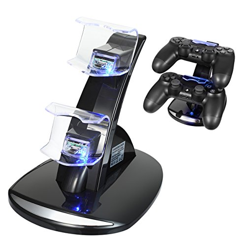 ROCAM PS4 Controller Charger For Sony Playstation 4 / PS4 Pro / PS4 Slim Dual USB LED Indicator Standalone Quick Charger- Black