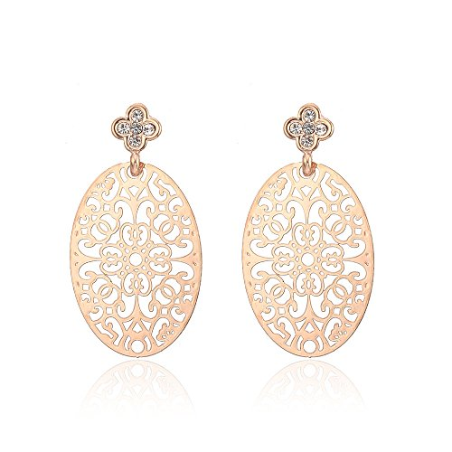 Dangle Earring for Women,Oval Tree of Life Stud Earring with CZ Girls Rose Gold Drop Earring with Cubic Zirconia (Rose Gold Plated)