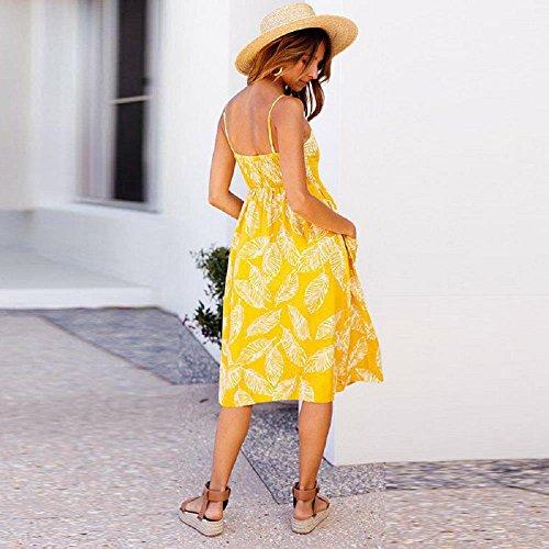 Melansay Frauen Boho Kleid Casual Slip ärmelloses langes Kleid Strand sexy Sommerkleid Gelb1 CBH0U