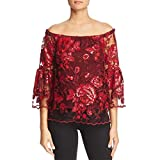 Vince Camuto Womens Off-The-Shoulder Lace Pullover Top Red S