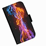 Hairyworm - Colourful flames on black background Xiaomi Mi Note 2 leather side flip wallet cell phone case, cover with card slots, money slot and magnetic clasp to close.
