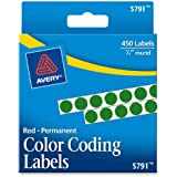 Avery Permanent Color Coding Labels, 0.25 Inches, Round, Green, Pack of 450 (5791)