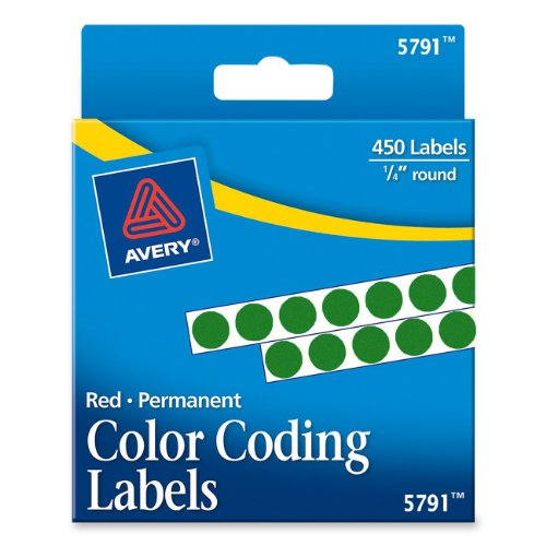 Avery Permanent Color Coding Labels, 0.25 Inches, Round, Green, Pack of 450 (5791) (Color Coded Colored Label Maker)
