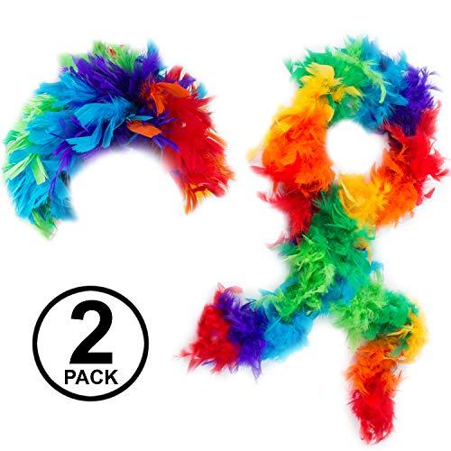 Tigerdoe Feather Wigs - 2 Pc Set - Rainbow Wig with Boa - Clown Dress Up - Funny Wigs -