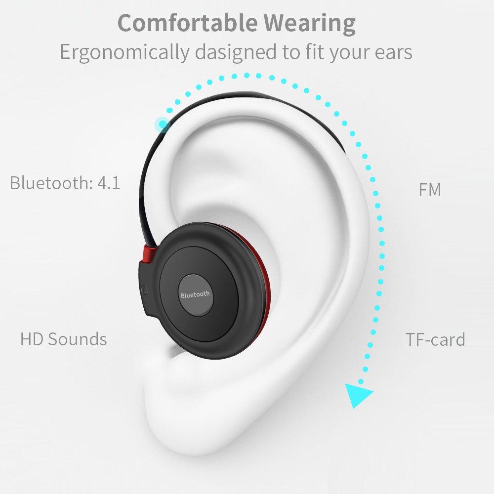 Vemont Auriculares Bluetooth Deporte V4.1 Auriculares Bluetooth inalámbrico Rádio FM con micrófono para correr, entrenamiento, fitness,soporta tarjeta TF ...