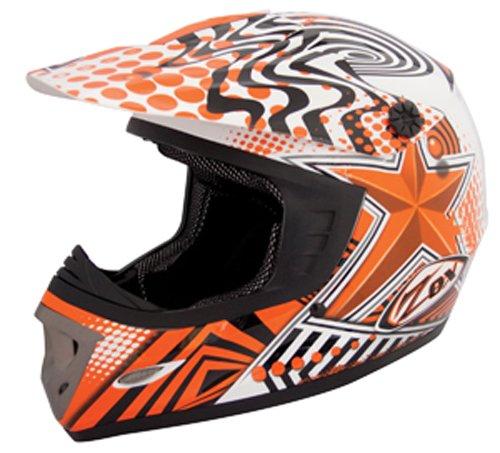ZOX Rush Junior Off-Road Helmet with Star Graphic (Orange/Black, Medium)