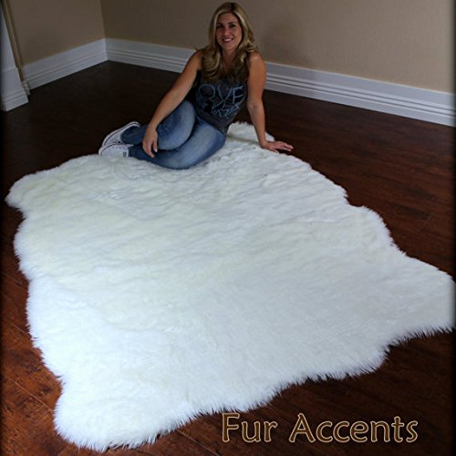 Fur Accents Shaggy Plush Faux Fur Sheepskin Accent Rug / Off White Free Form Shape 5'x8'