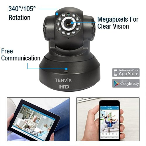 NEW VERSION TENVIS IP Camera -720P IP Camera Supporting Smart Wi-Fi, Night Vision Camera, Smart Camera for Pet Baby Monitor, Home Security Camera Motion Detection Indoor Camera with Micro SD Card Slot by TENVIS (Image #8)