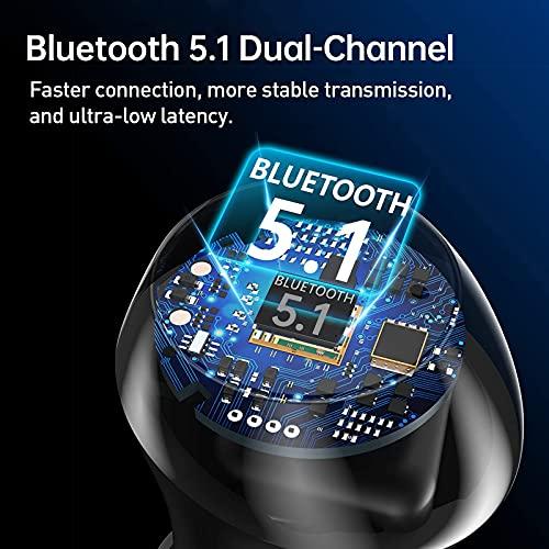Tranya T10 fones sem fio Bluetooth 5.1. Som estéreo com graves profundos, modo jogo com baixíssima latência, driver de…