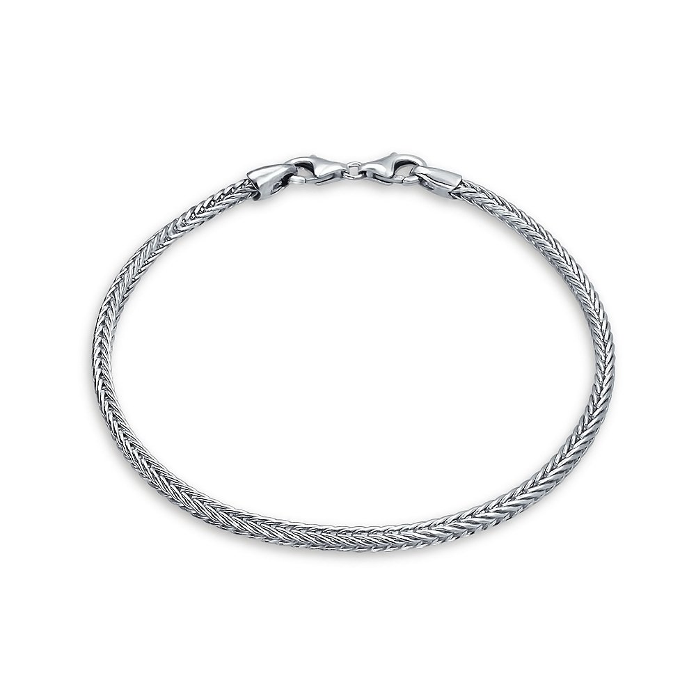 Bling Jewelry Foxtail Chain Bead charm Bracelet .925 Sterling Silver PBX-HC-032-18CM
