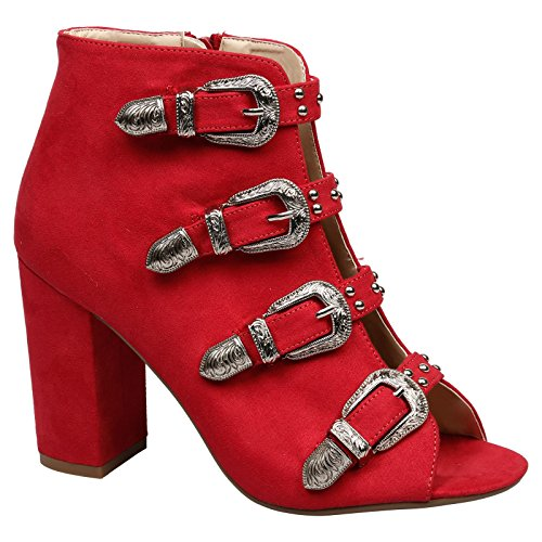 Feet First Fashion Nami Womens High Block Heel Peep Toe Buckled Ankle Boots Red Faux Suede RUl095ixc