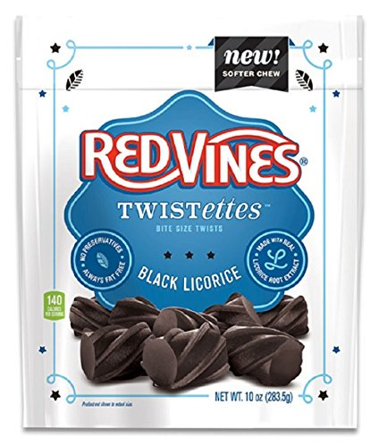 Red Vines Black Licorice Twistettes, 10oz Bag (12 (Black Vines)