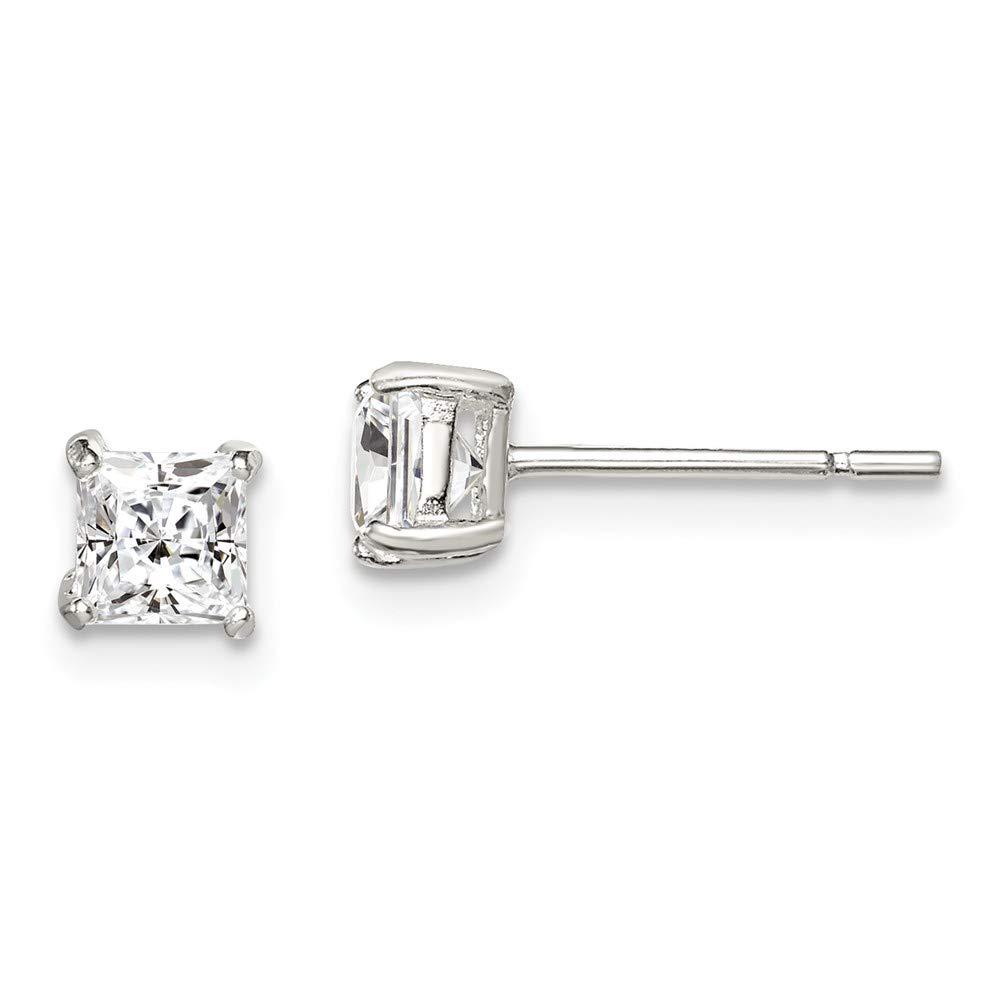 Sterling Silver Jewelry Stud Earrings Basket Mounting 4 mm 4 mm 4mm Princess Basket Set CZ Stud Earrings