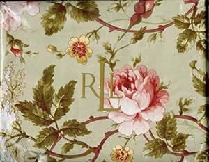 Lauren by Ralph Lauren Bedding Yorkshire Rose Green Floral QUEEN Flat Sheet