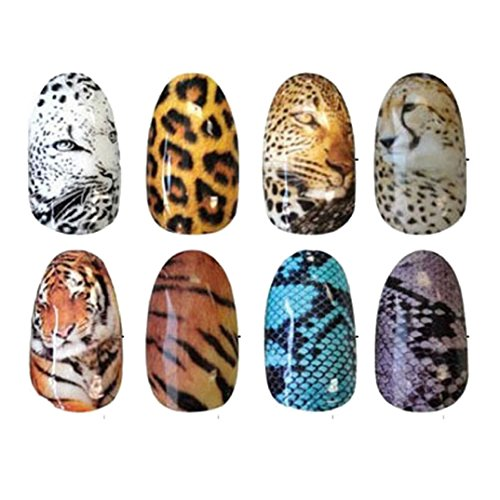 Leopard Finger Nails (Binmer(TM)8 Sheets Tiger Snakeskin Colorful Sexy Leopard Pattern Water Decals Transfer Stickers on Nails Nail Art Fingernails Decoration)