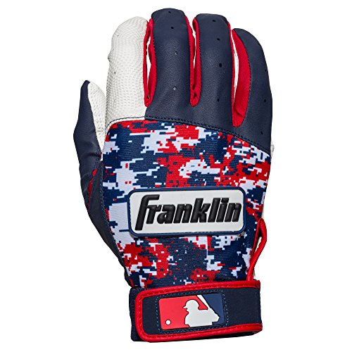 Franklin Sports Youth MLB Digi Camo Batting Gloves, White/Navy/Red, Small (Camo Red Digi)