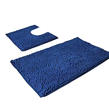 VDOMUS Microfiber Bathroom Contour Rugs Combo, Set of Soft Shaggy Bath Shower Mat and U-shaped Toilet Floor Rug (Dark Blue)