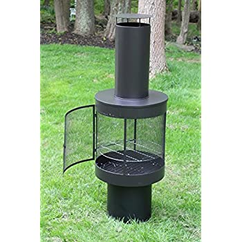 Oliver And Smith   Large Iron Outdoor Round 360 Degree Patio Chiminea  Fireplace Mesh Door