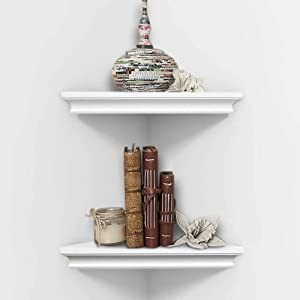 AHDECOR White Corner Wall Shelves, Wall Mounted Floating Corner Shelf for Home Décor, 2-Pack