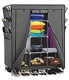 Smart-Home 69'' Portable Closet Storage Organizer Clothes Wardrobe With Shoes Rack Shelves [Grey, 69'' (L) x 51: (W) x 17.5'' (D)]