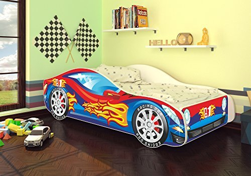 Autobett Junior in vier Farben mit Lattenrost und Matratze 70x140 cm Top Angebot! (Blau-Rot)