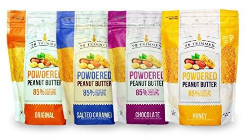 PB Trimmed Powdered Peanut Butter 1LB Bags (4 Pack) Original + Chocolate + Salted Caramel + Honey