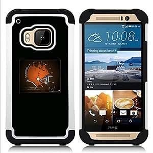 """HTC One M9 /M9s / One Hima - 3 en 1 impreso colorido de Altas Prestaciones PC Funda chaqueta Negro cubierta gel silicona suave (Cleveland NFL"""")"""