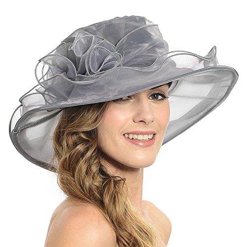 Acediscoball Women's Sheer Wide Brim Sun Party Church Wedding Floral Organza Hat Grey