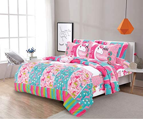 8 Piece Full Size Kids Girls Teens Comforter Set Bed in Bag with Shams, Sheet set and Decorative Toy Pillow, Unicorn Rainbows Pink Hot Pink Girls Kids Comforter Bedding Set w/Sheets, Full 8pc Unicorn