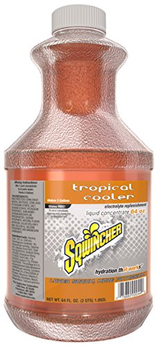 Sqwincher Tropical Cooler (Sqwincher Liquid Concentrate Electrolyte Replacement, 5 Gallon Yield, Tropical Cooler 030329-TC (Pack of 6))