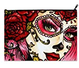 Female Fashion Travel Makeup Cosmetics Bag Coin Purses Pouches Cash bag X-Large Size with Day of the Dead Sugar Skull Girl Print