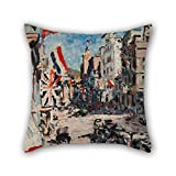 elegancebeauty oil painting Harry Caldecott - Royal Visit 1925 pillowcover ,best for dining room,bf,kitchen,deck chair,divan,couch 16 x 16 inches / 40 by 40 cm(two sides)