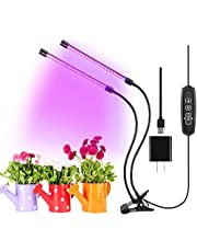 Qmayer Plant Light for Indoor Plants, Dual Head 40 LED Full Spectrum Grow Light with 10 Dimmable Levels 3 Spectrum Modes and Timing Function 3/9/12 H