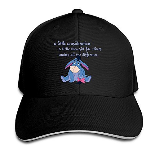 PTCY The Pooh Eeyore Consideration Sandwich Peak Custom Cap Adjustable Cap Black