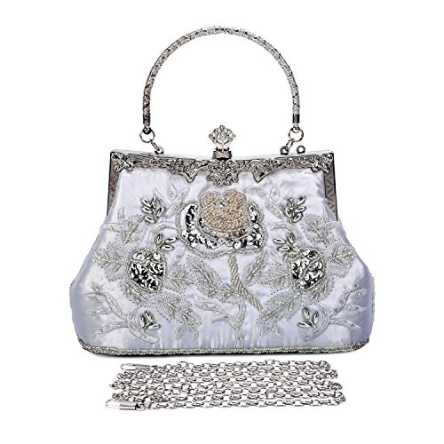 Clocolor Women's Vintage Evening Bags Beaded Sequined Clutch Wedding Party - Bag Purse Sequined Evening