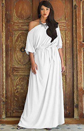 209dbfd2a977 KOH KOH Womens Long Sexy One Shoulder Flowy Casual 3 4 Short Sleeve Maxi  Dress