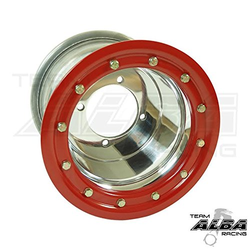 Rear 9x8 Front 10x5 4+1 Polished//Red Compatible with Honda TRX 450R TRX 400EX Beadlock Set of 4 Wheels Rims