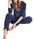 Victoria's Secret , Women's The Dreamer Henley Blue Plaid Pajama 2 Piece PJ Set Medium