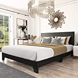 Amolife King Size Upholstered Platform Bed Frame with Adjustable Headboard and Wood Slat Support/Faux Leather Mattress Foundation/No Box Spring Needed, Black