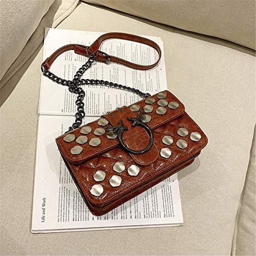 ダイヤモンドチェーンマイナーラメバッグリベットスパンコールショルダーバッグファッションオイルレザーメッセンジャーバッグハイツセンスDistaffバッグ 実用的 (色 : Red)