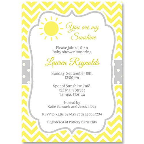Baby Shower Invitations, Spot of Sunshine, White, Yellow, Grey, Gender Neutral Baby Shower, Sunshine, Chevron Stripes, Polka Dots, You are My Sunshine, Set of 10 Custom Printed Invites with Envelopes